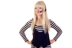 Woman operator with headset royalty free stock image