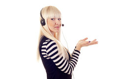 Woman operator with headset Royalty Free Stock Images