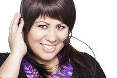 Woman operator with headset Stock Photos