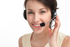 Woman operator with headset - microphone and headphones Stock Photography