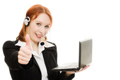 Woman operator helpline with laptop computer Royalty Free Stock Photography