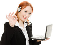 Woman operator helpline with laptop computer Royalty Free Stock Images