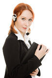 Woman operator helpline with laptop computer Stock Photo
