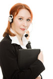 Woman operator helpline with laptop computer Stock Photography