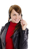 A woman operator support smiling  Stock Image