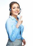 Woman opereator finger pointing on white Stock Photos
