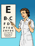 Woman ophthalmologist table verification of view. Pop art retro style. Medicine and eye health Royalty Free Stock Images