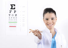 Woman Optician or optometrist. A close-up portrait of a woman Optician or optometrist holding eye wear glasses, isolated on a white background. hand ok sign stock photo