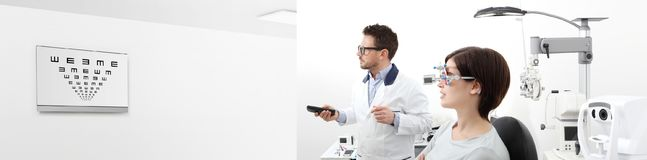 Woman in the optometrist office examining her eyesight, he is po stock images