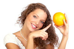 Woman with orange Royalty Free Stock Image