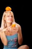 Woman with orange Stock Photo