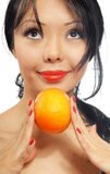 Woman and orange Royalty Free Stock Photo