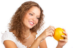 Woman with orange Stock Image