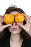 Woman and Orange Stock Photography