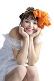 Woman with orange bow Royalty Free Stock Images