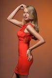 Woman in orange dress Royalty Free Stock Image