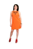 Woman in orange dress Royalty Free Stock Photography