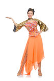 The woman in orange dress on white Stock Photo