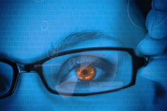 Woman with orange eye wearing glasses Royalty Free Stock Photo