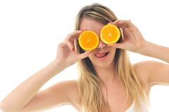 Woman with orange fruit isolated on white Royalty Free Stock Photos