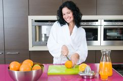 Woman with orange juice Royalty Free Stock Images