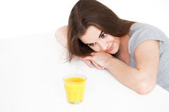 Woman with orange juice Royalty Free Stock Photo