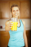 Woman orange juice Royalty Free Stock Photography