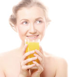 Woman with orange juice, isolated on white Stock Photos