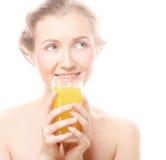 Woman with orange juice, isolated on white Stock Photos