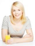 Woman with orange juice on white background Stock Images