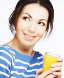Woman with orange juice on white background Royalty Free Stock Photography