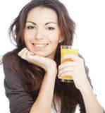 Woman with orange juice on white background Royalty Free Stock Images