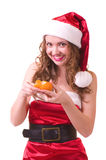 Woman  with orange mandarin Stock Photo