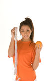 Woman,with orange and measuring tape Stock Image
