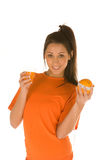 Woman,with orange and measuring tape Royalty Free Stock Images