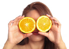 Woman with Orange Slice Glasses Stock Image