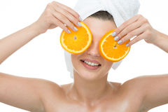 Woman with orange slices Royalty Free Stock Image
