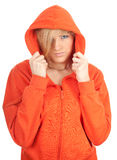 Woman in orange sweatshirt Stock Photo
