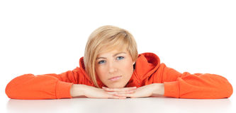 Woman in orange sweatshirt Stock Image