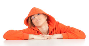 Woman in orange sweatshirt Royalty Free Stock Image