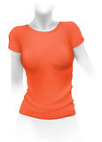 Woman orange t-shirt template Royalty Free Stock Photos
