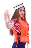 Woman with orange vest isolated Stock Image