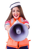 Woman with orange vest isolated Stock Photos
