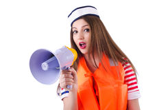 Woman with orange vest isolated Stock Images