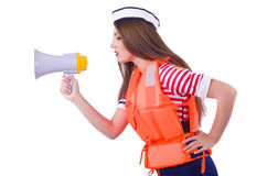 Woman with orange vest Royalty Free Stock Photo