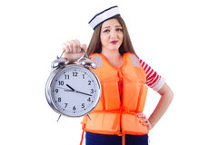 Woman with orange vest Stock Photo