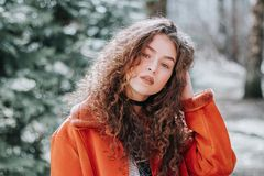 Woman in Orange Zip-up Jacket Royalty Free Stock Photo