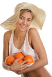 Woman with oranges Royalty Free Stock Images
