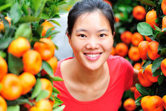 Woman and oranges trees Royalty Free Stock Image