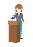 Woman Orator Speaking from Tribune. Stock Images